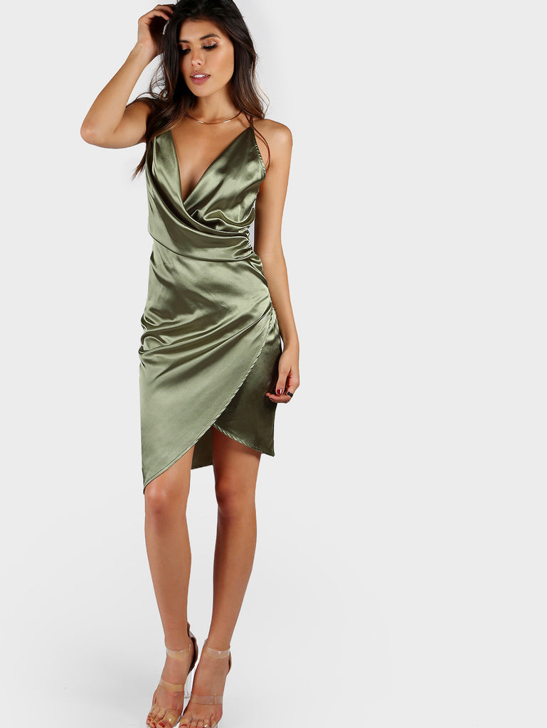 Strappy Back Draped Satin Wrap Dress