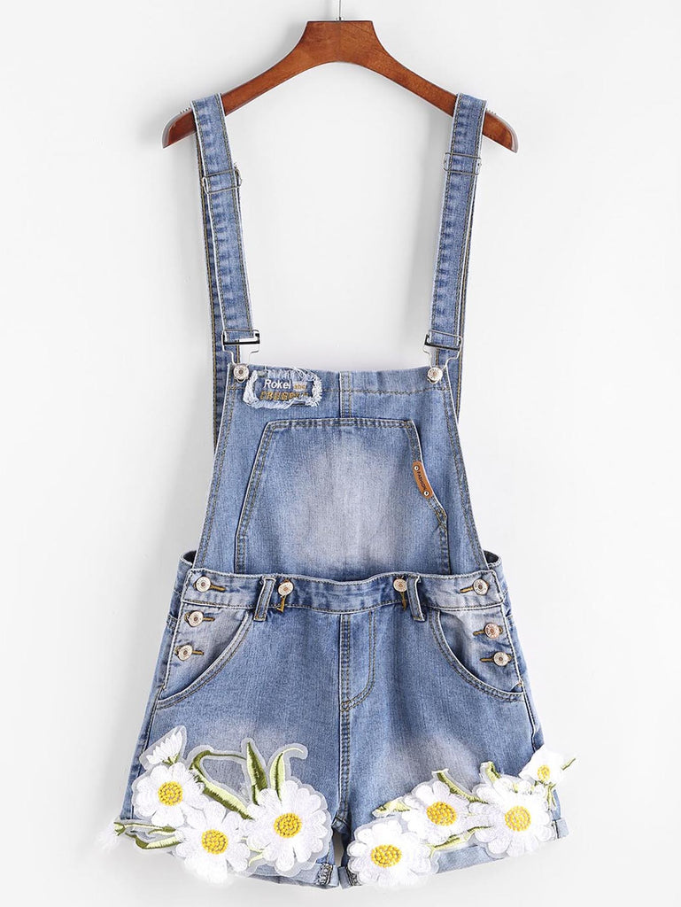 RZX Embroidered Appliques Cuffed Denim Overall Shorts