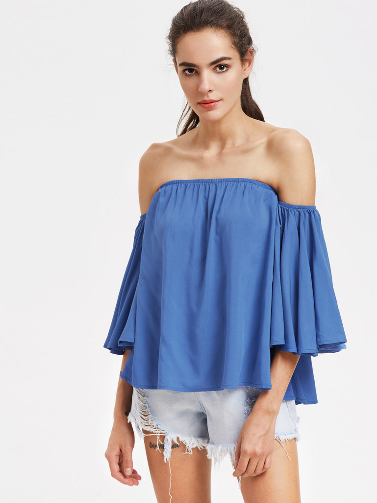 RZX Frill Sleeve Swing Bardot Top