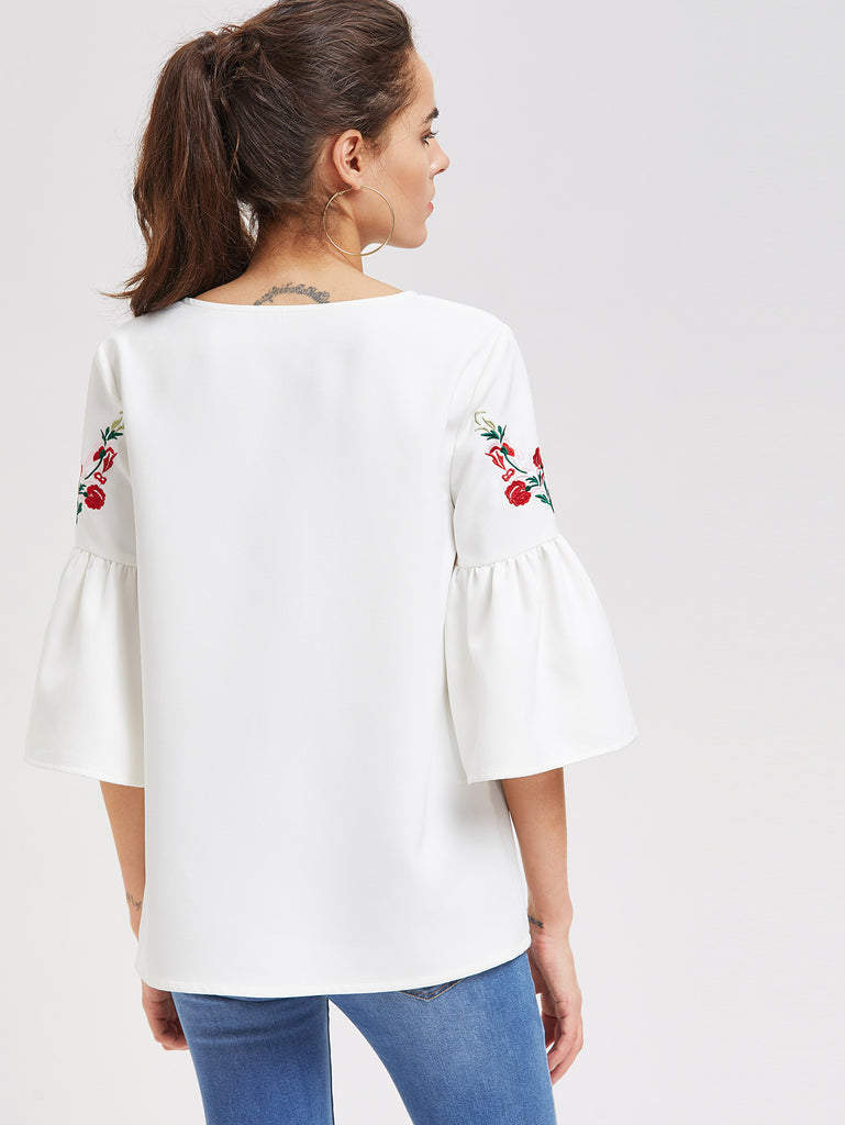 RZX Flower Embroidered Fluted Sleeve Top