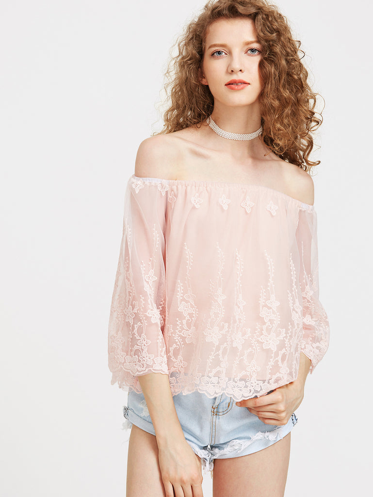 Embroidered Mesh Overlay Off Shoulder Top