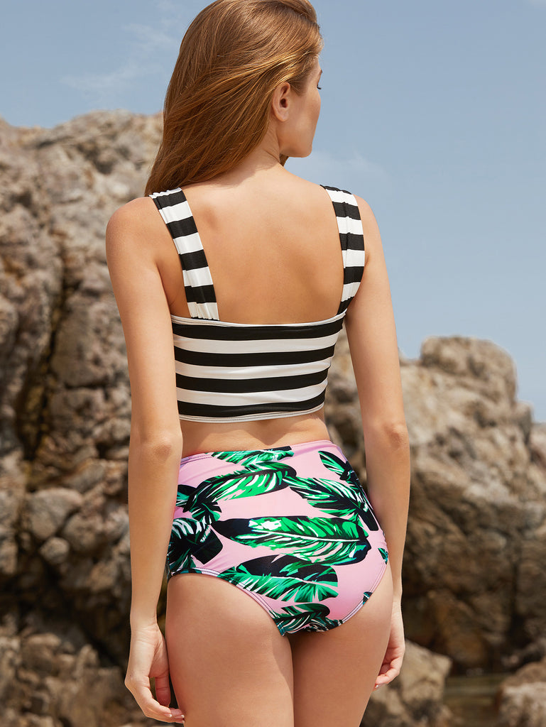 RZX Striped And Leaf Print High Waist Mix & Match Swimwear