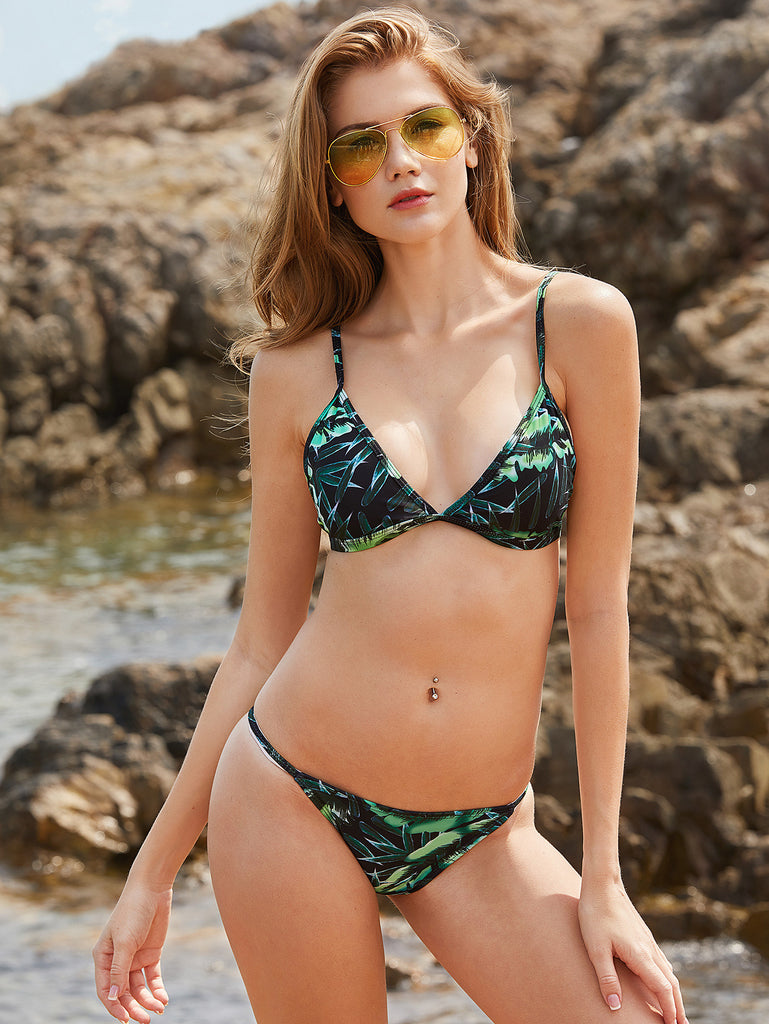 RZX Green Leaf Print Triangle Bikini Set