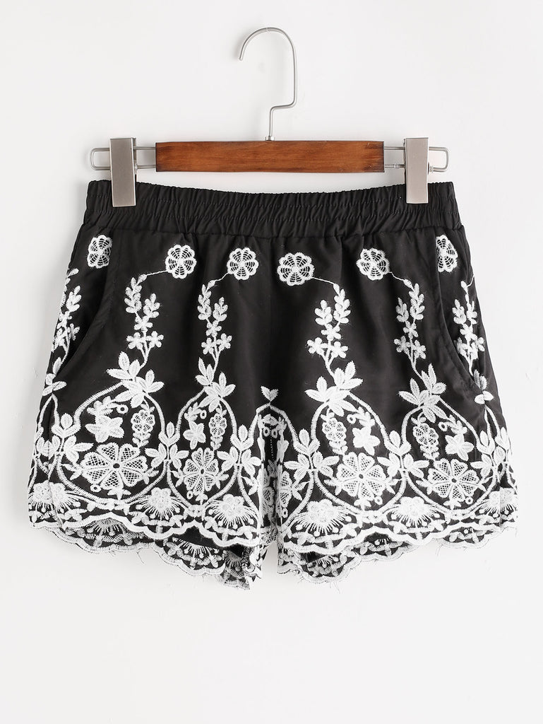 RZX Embroidered Elastic Waist Shorts