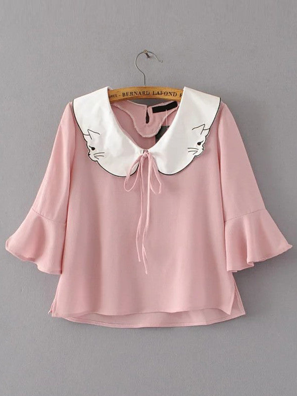 RZX Contrast Collar Bell Sleeve Blouse With Tie Detail