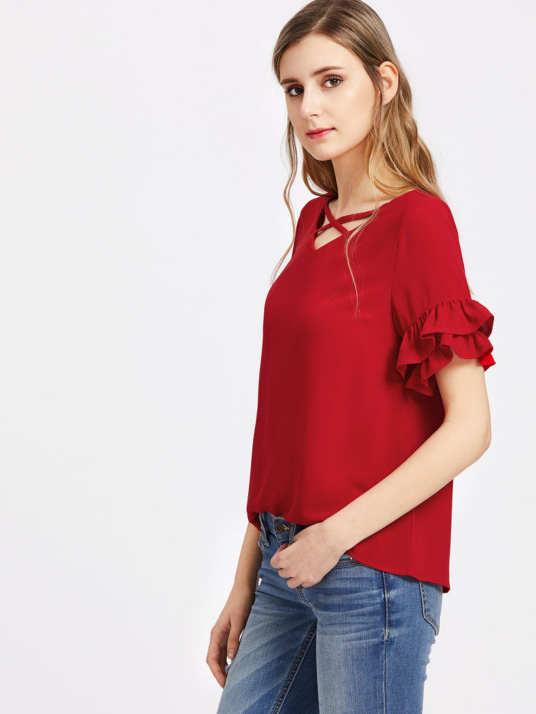 Crisscross V Neck Layered Ruffle Sleeve Top RZX