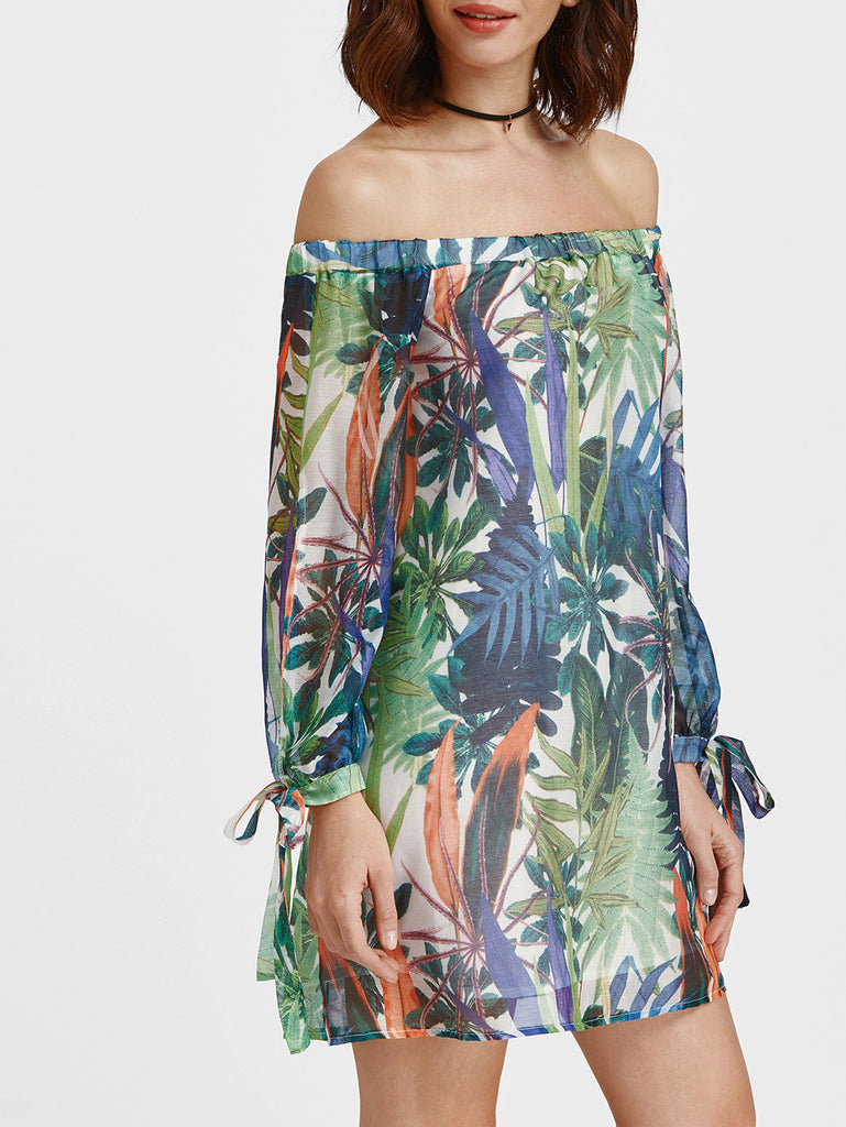Tropical Print Off Shoulder Tie Sleeve Dress