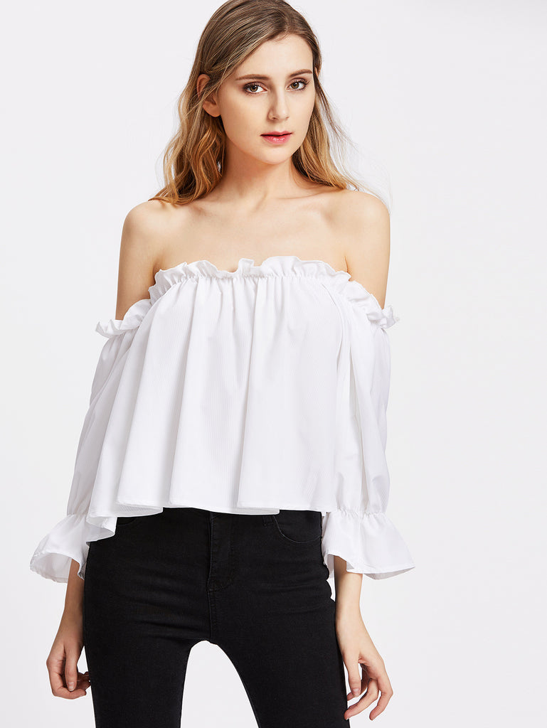 RZX Ruffle Shoulder And Cuff Button Back Flowy Top