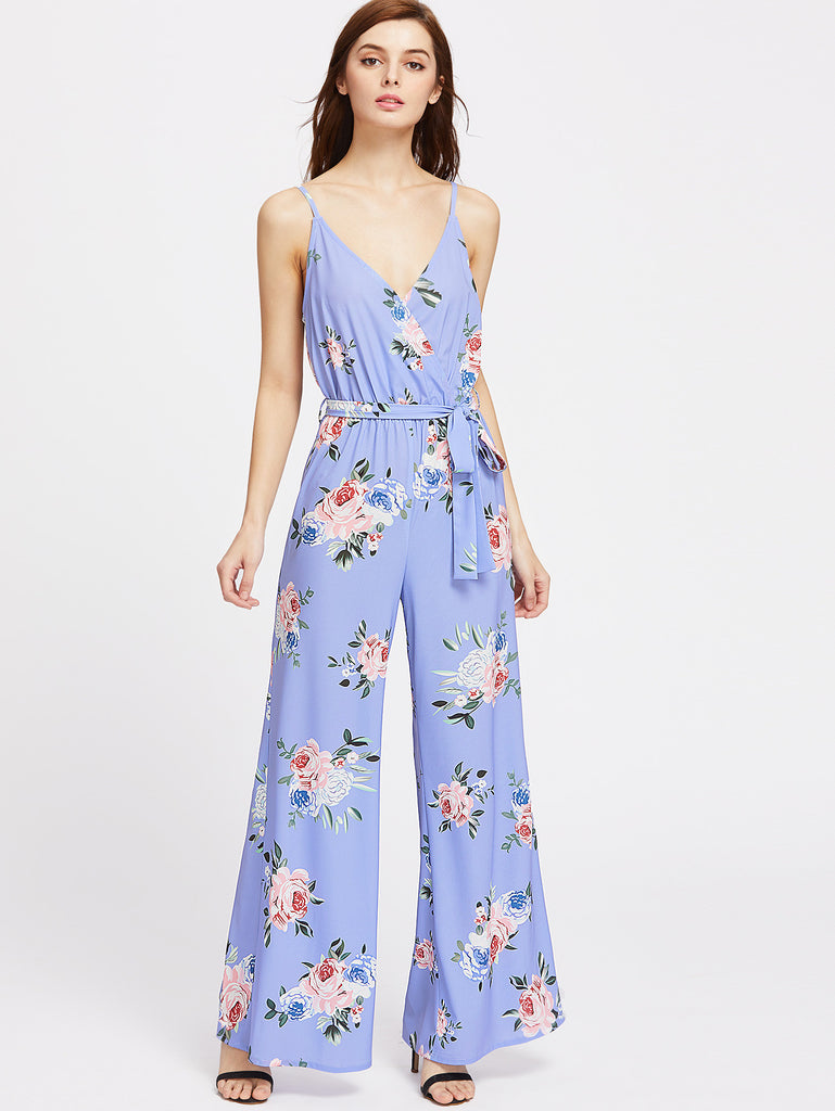 RZX Rose Print Surplice Belted Wide Leg Cami Jumpsuit