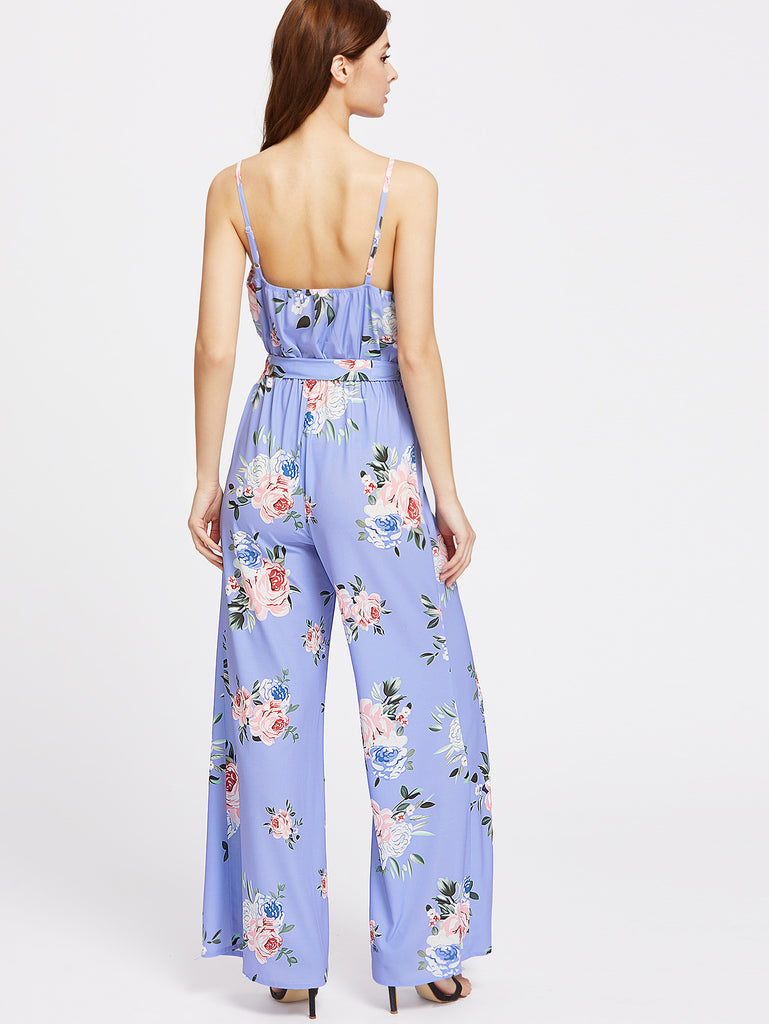 2caeb3fe686 RZX Rose Print Surplice Belted Wide Leg Cami Jumpsuit – The Style ...