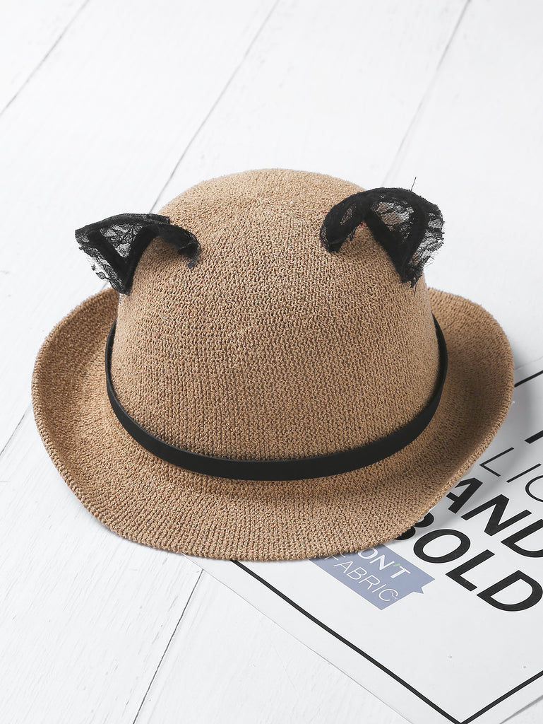 Contrast Lace Cat Ear Fedora Hat