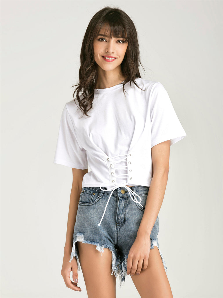 Eyelet Lace Up Hem T-shirt