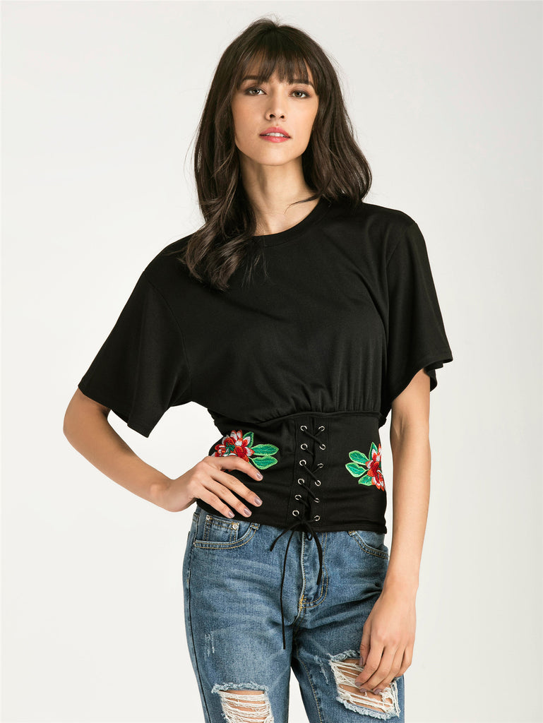 RZX Embroidery Eyelet Lace Up Hem T-shirt