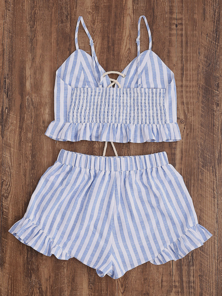 Striped Lace Up Smocked Cami And Ruffle Shorts Co-Ord