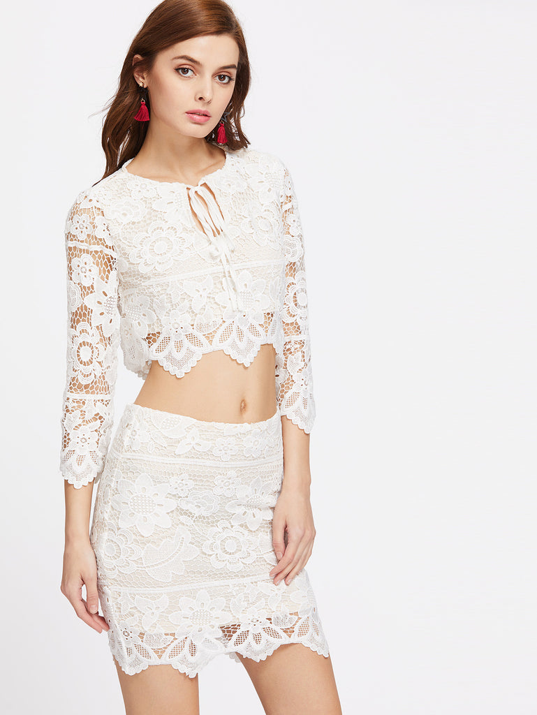 RZX Tie Neck Scallop Lace Crop Top With Skirt