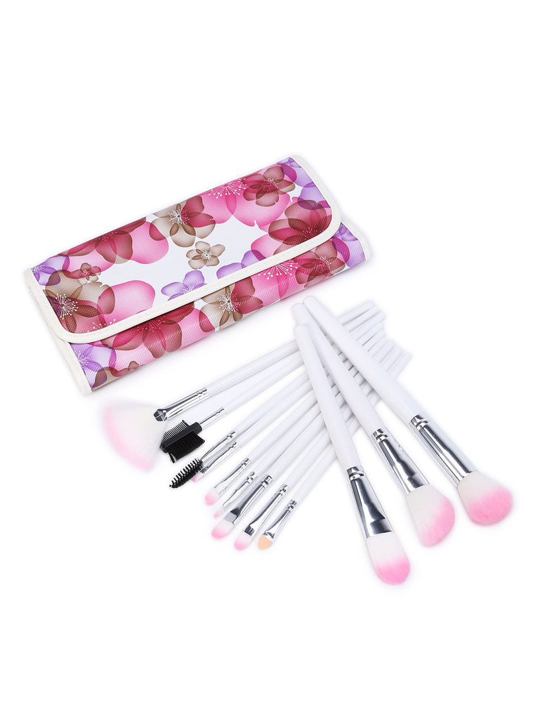 Contrast Bristle Makeup Brush With Calico Print Bag