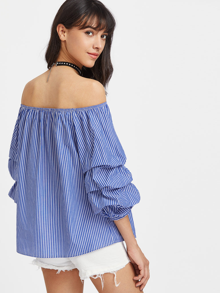 RZX Off Shoulder Ruched 3/4 Sleeve Pinstripe Top