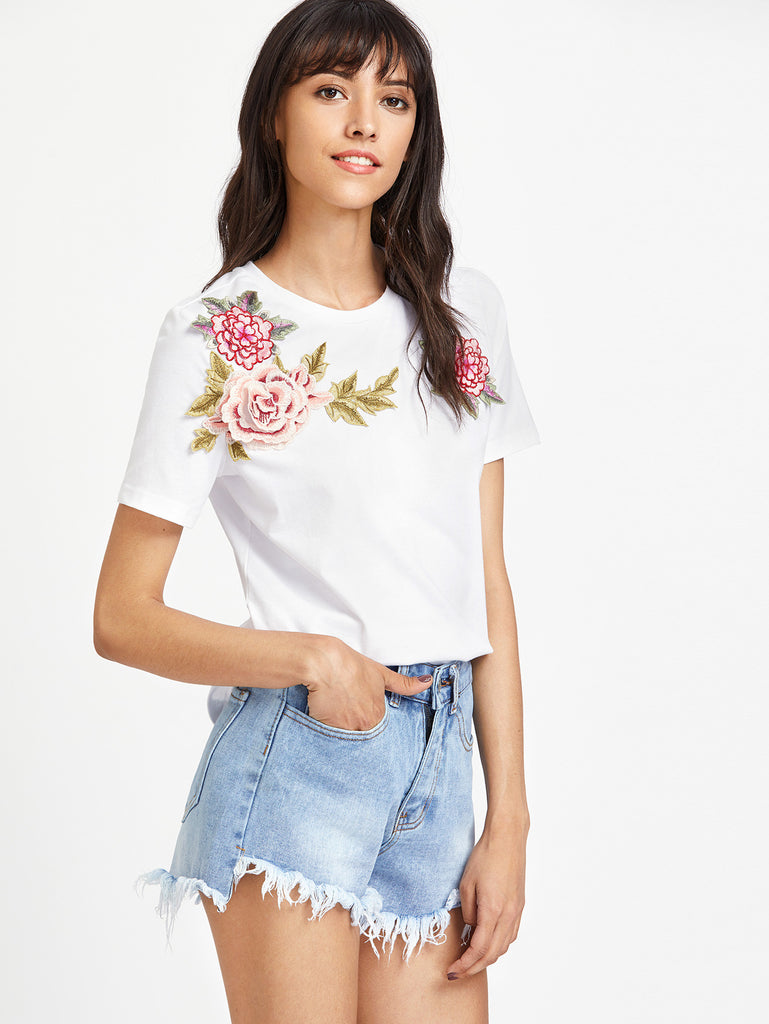 RZX  3D Flower Embellished T-shirt