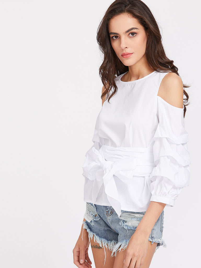 RZX Open Shoulder Buttoned Keyhole Back Ruched Sleeve Belted Top