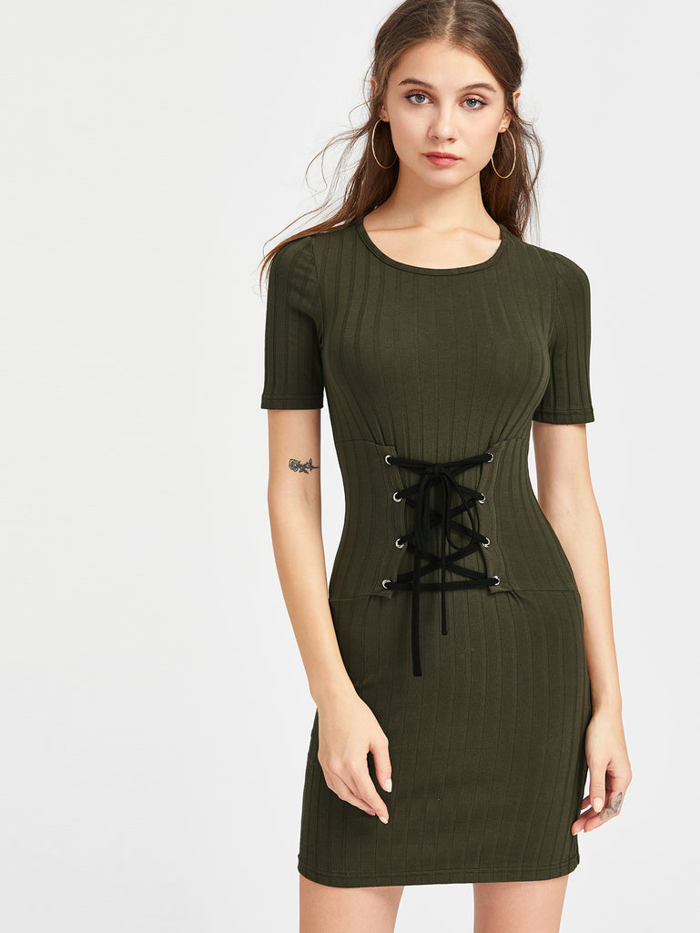 Rib Knit Lace Up Corset Belt Bodycon Dress