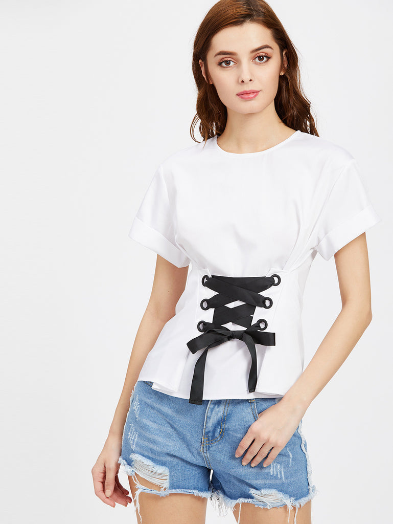 Eyelet Lace Up Front Cuffed Top