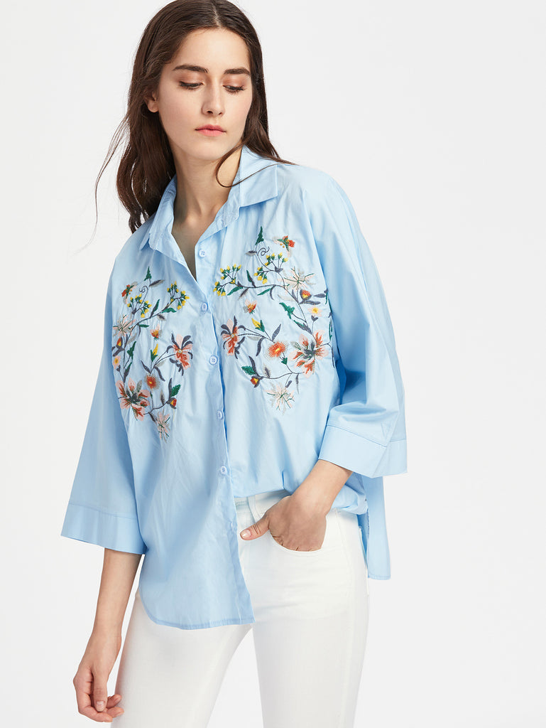 RZX Flower Embroidery Kimono Sleeve Tunic Blouse