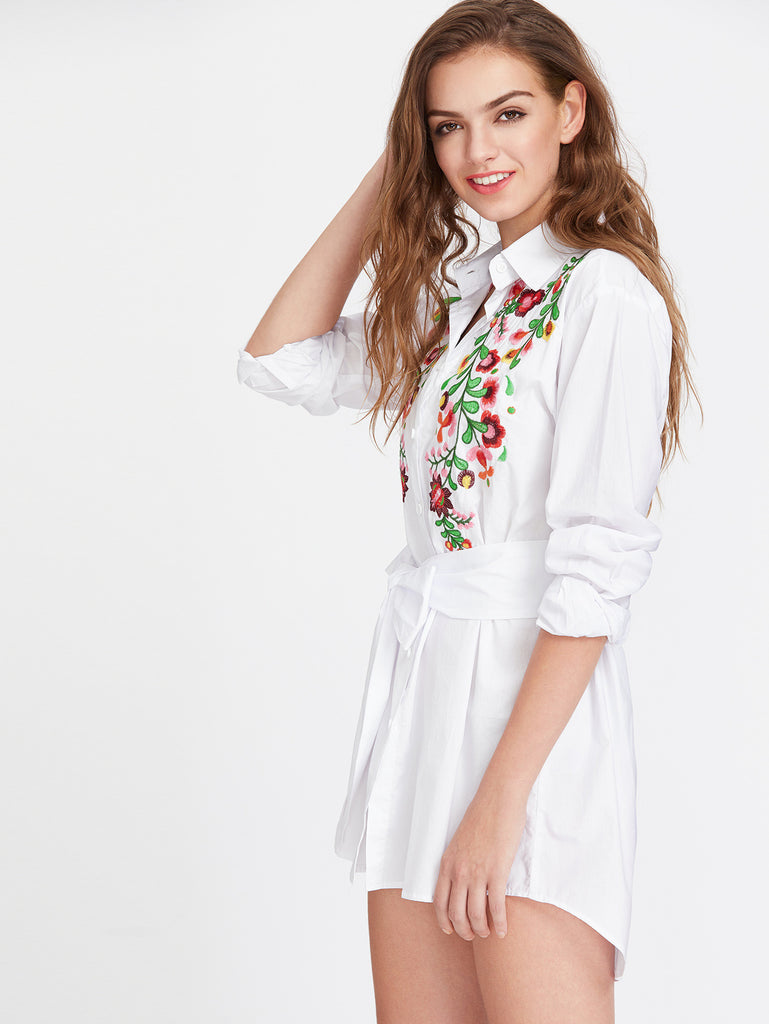 RZX Flower Embroidered Self Belted Curved Shirt Dress