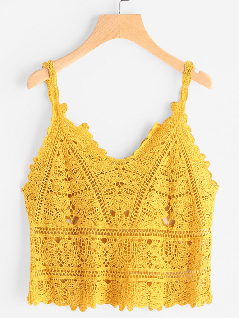 RZX Hollow Out Crochet Cami Top