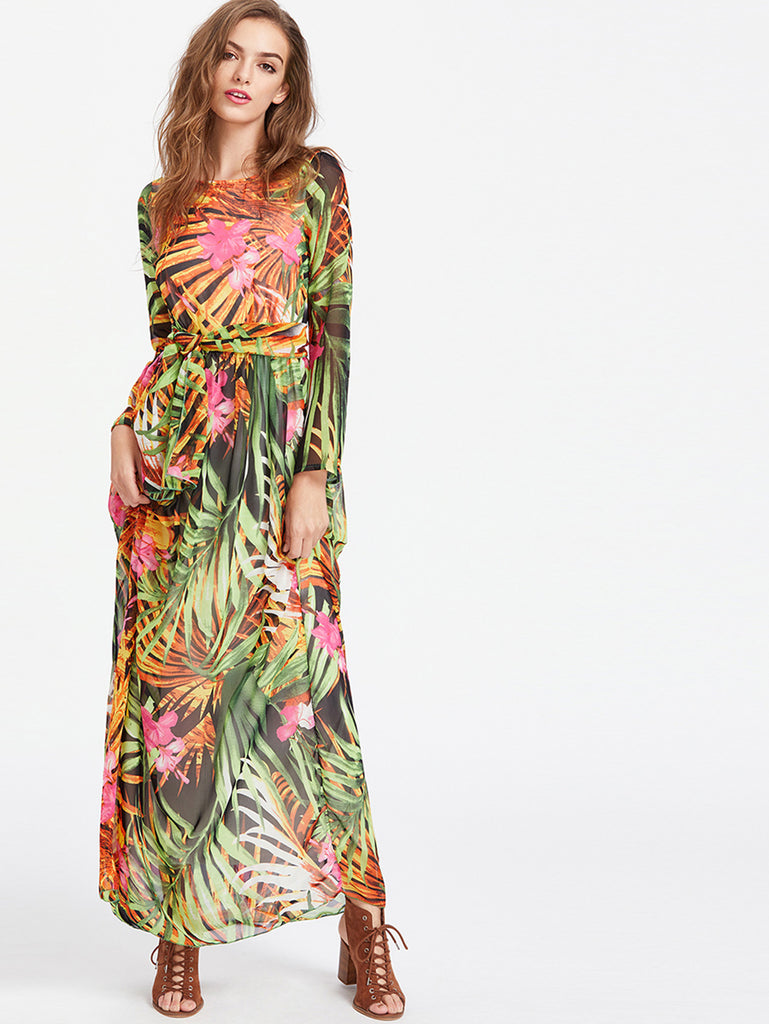 RZX Tropical Print Self Tie Full Length Chiffon Dress