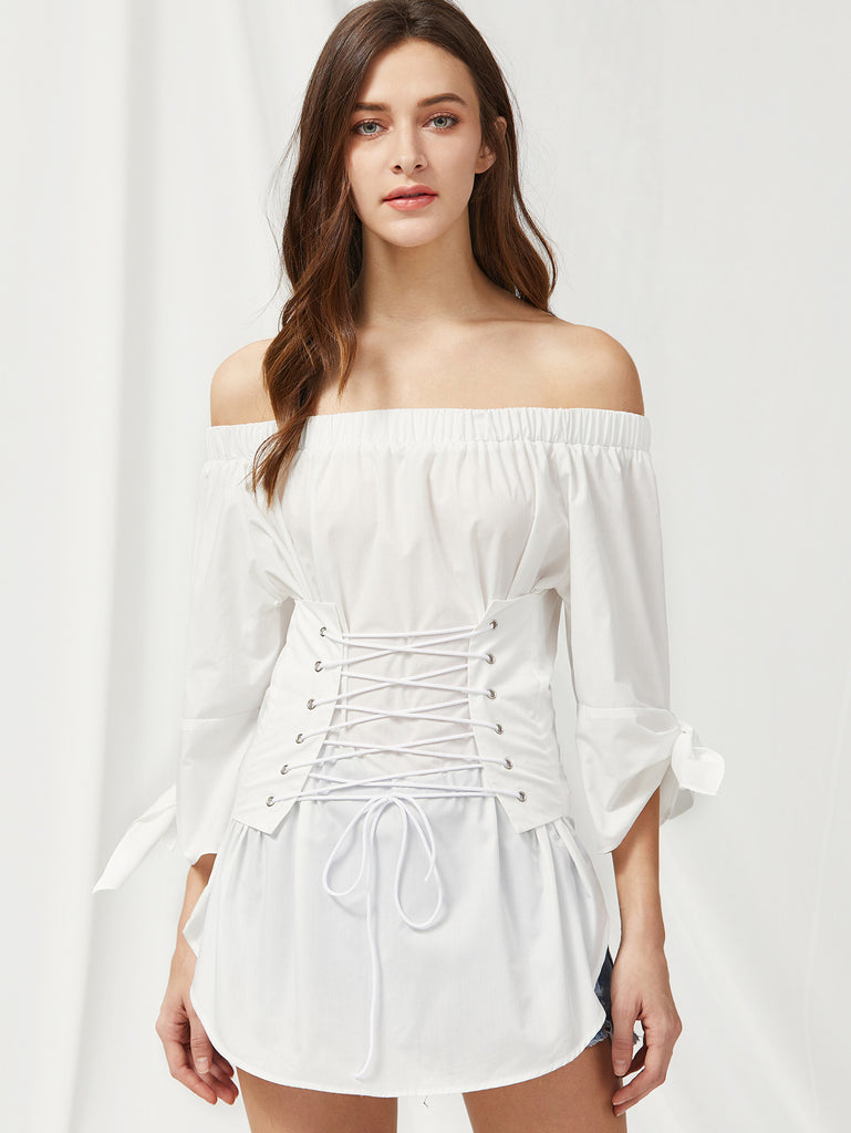 RZX  Tie Sleeve Lace Up Corset Detail Dolphin Hem Top