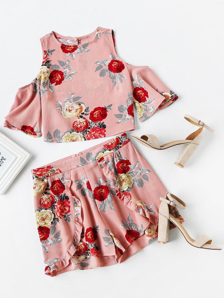 RZX Open Shoulder Floral Top With Ruffle Trim Wrap Shorts