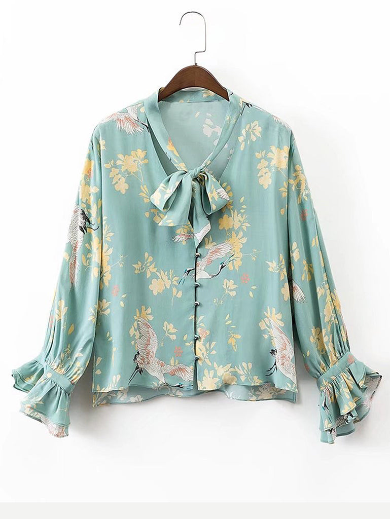 RZX Tie Neck Bell Sleeve Floral Blouse