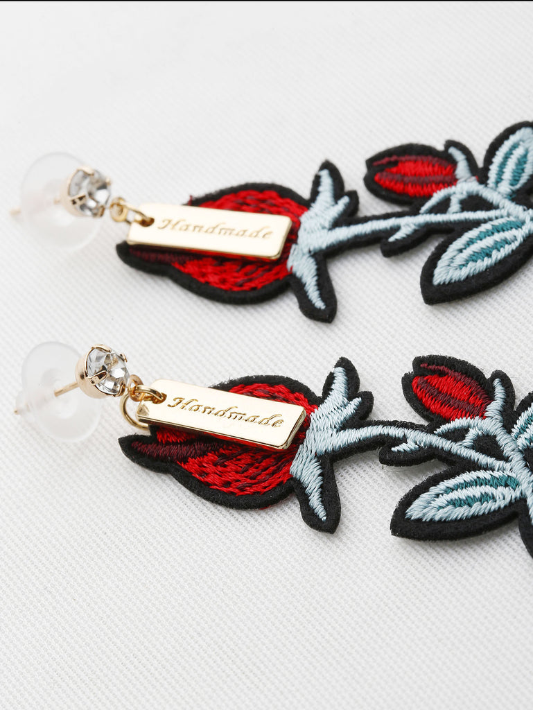 Embroidery Rose Drop Earrings With Rhinestone