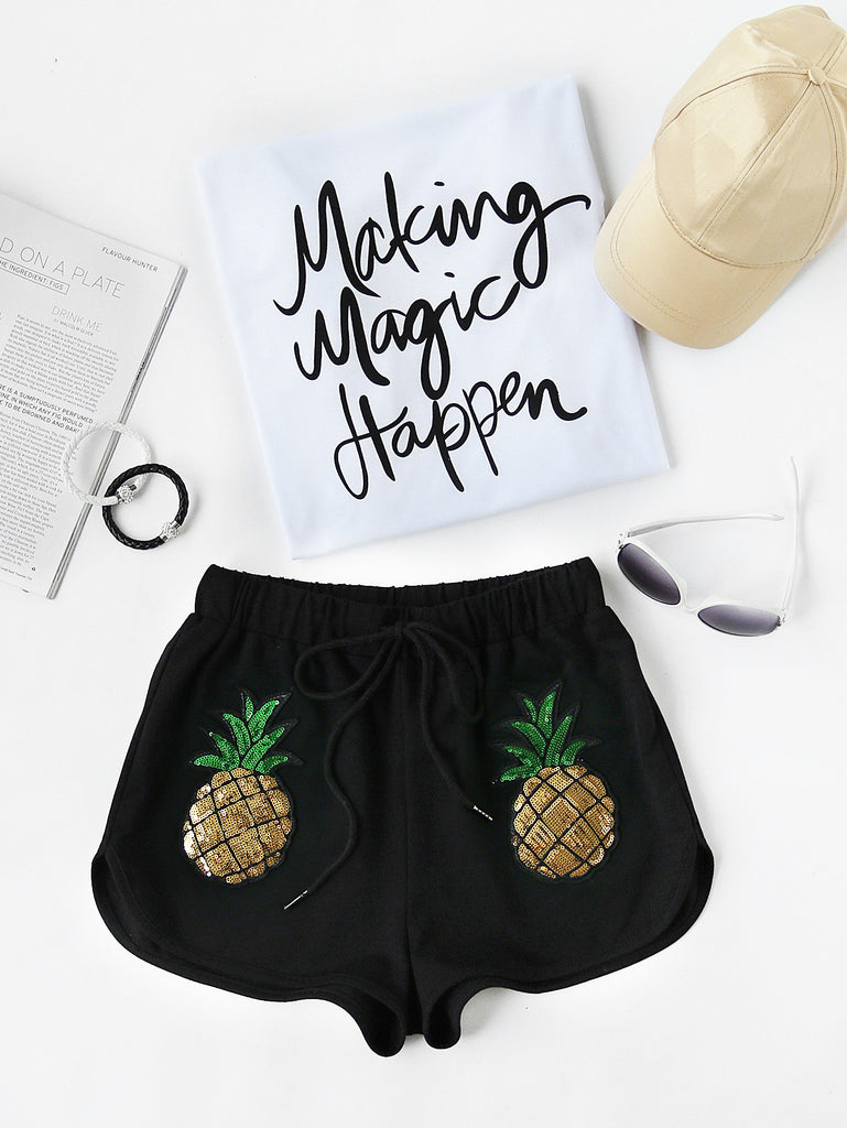 RZX Sequin Pineapple Patch Drawstring Dolphin Shorts