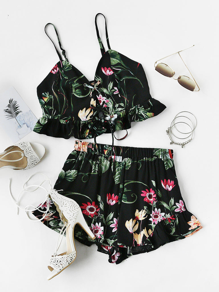 RZX Botanical Print Lace Up Smocked Cami And Ruffle Shorts Co-Ord
