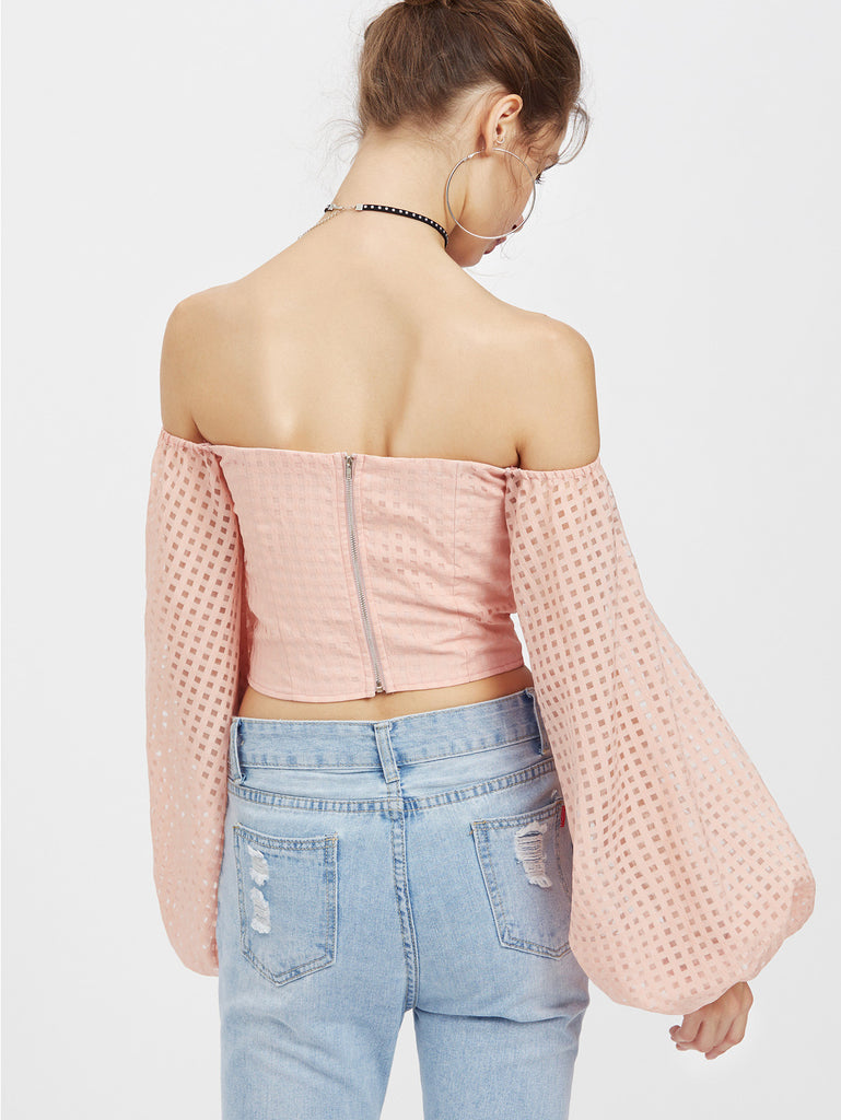 RZX Bishop Sleeve Self Belt Square Cutout Bustier Top