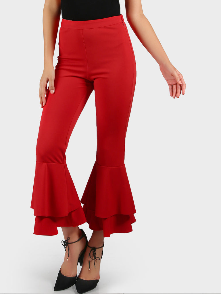 RZX Tiered Ruffle Flare Pants