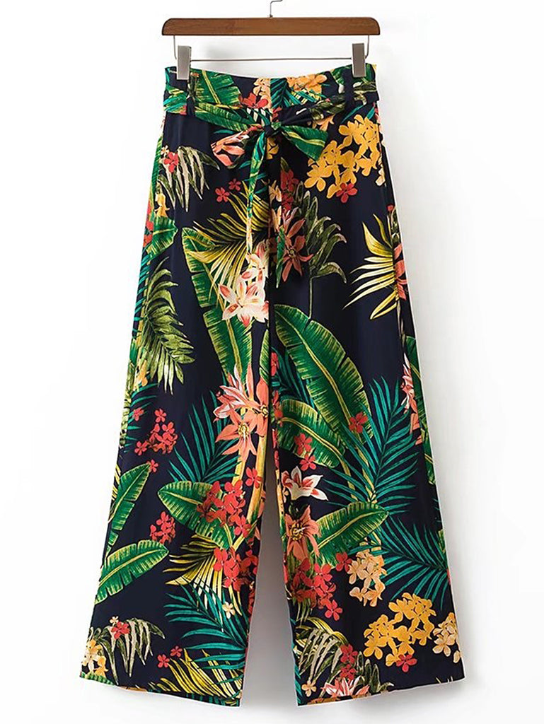 RZX Tropical Print Tie Waist Wide Leg Pants