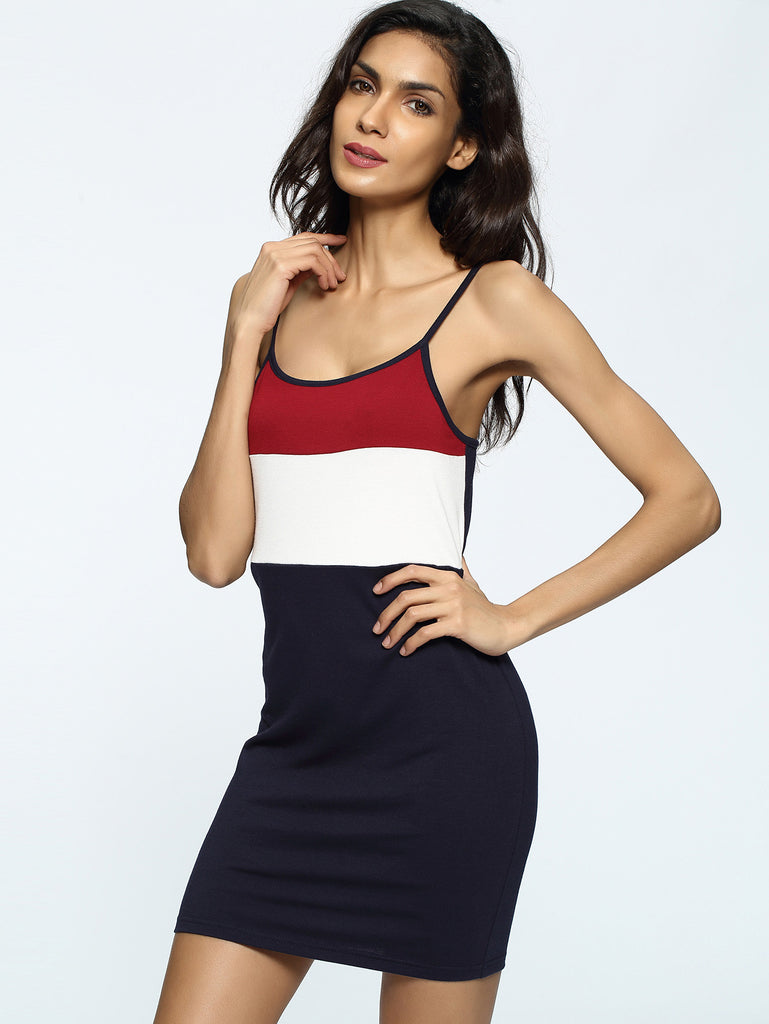 RZX Color Block Sheath Slip Dress