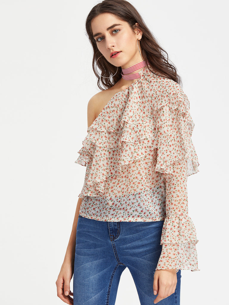 RZX  Oblique Shoulder Layered Frill Ditsy Top