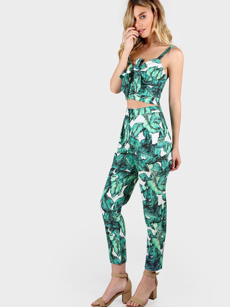 RZX  Front Tie Leaf Print Crop and Matching Pants Set
