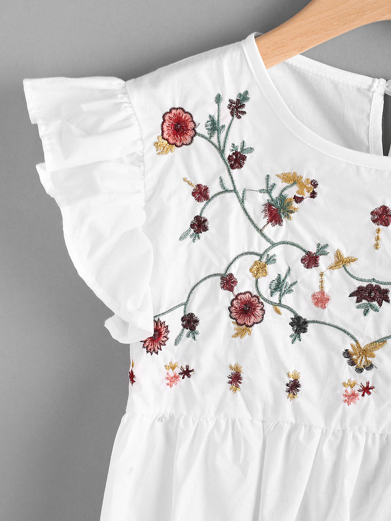 RZX Embroidered Frill Trim Keyhole Back Smock Top