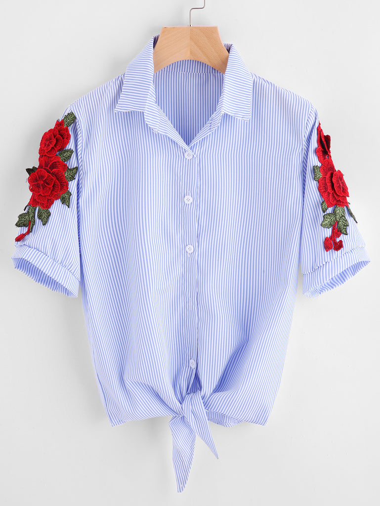 RZX Embroidered Appliques Pinstripe Knot Hem Blouse