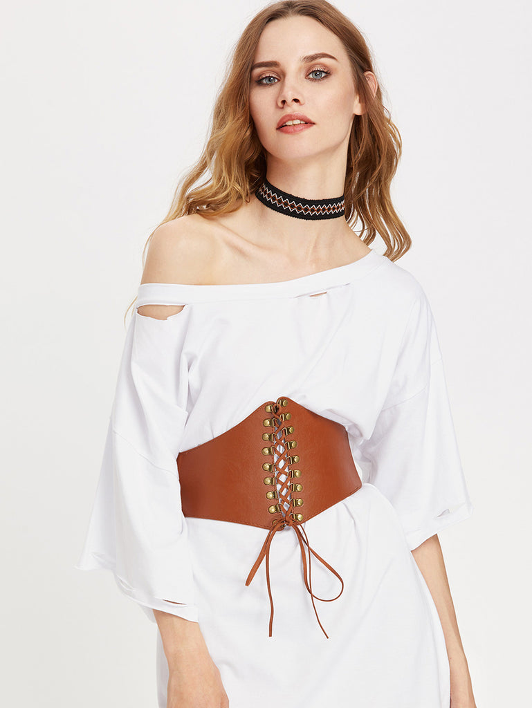 Metal Detail Lace Up Corset Belt