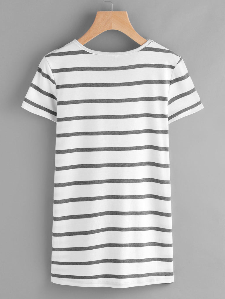 Embroidered Appliques Striped Tee RZX