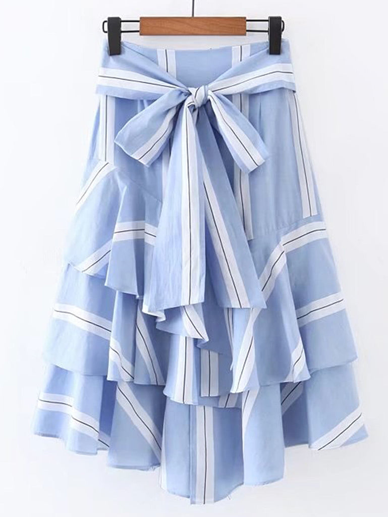 RZX Bow Tie Waist Layered Ruffle Skirt