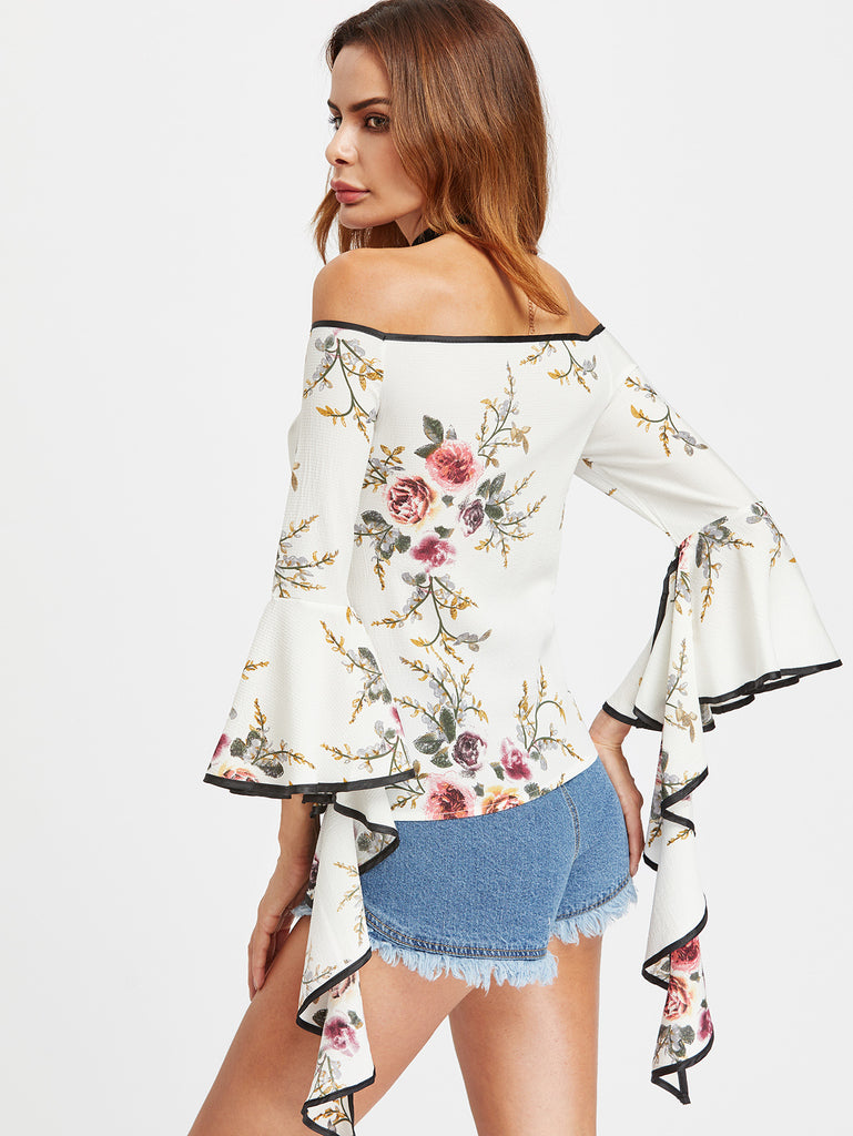 RZX Bardot Floral Print Contrast Trim Flare Sleeve Top