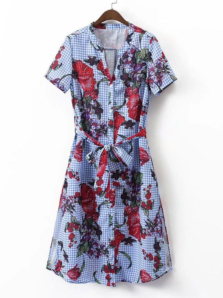 RZX Grid Floral Print Tie Waist Shirt Dress