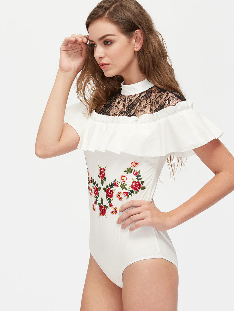 RZX Contrast Lace Shoulder Flower Embroidered Ruffle Bodysuit