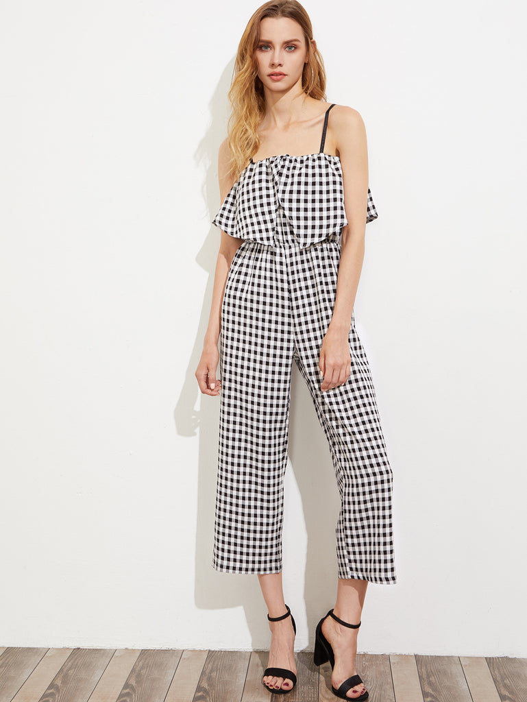 RZX Gingham Layered Frill Trim Cami Jumpsuit